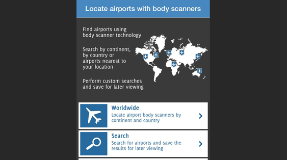 Find airports using full body scanners
